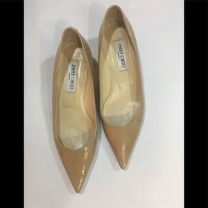 Jimmy Choo Aza Nude Patent Leather 37 1/2
